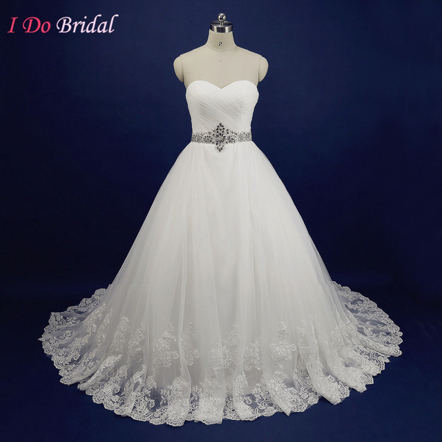 Modest White Wedding Dress Plus Size Women Sweetheart Real Picture Bridal Gowns Rhinestone Corset Back Alibaba