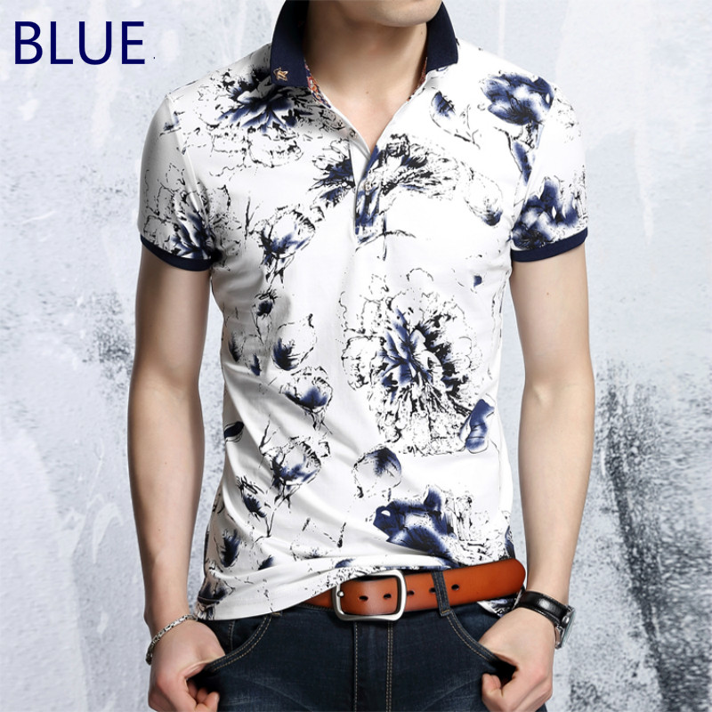 Mens Printed   Polo   Shirt Short Sleeves   Polo   Wear Summer New Business Fashion Casual Poloes Male Slim Gent Collar   Polo   Shirt