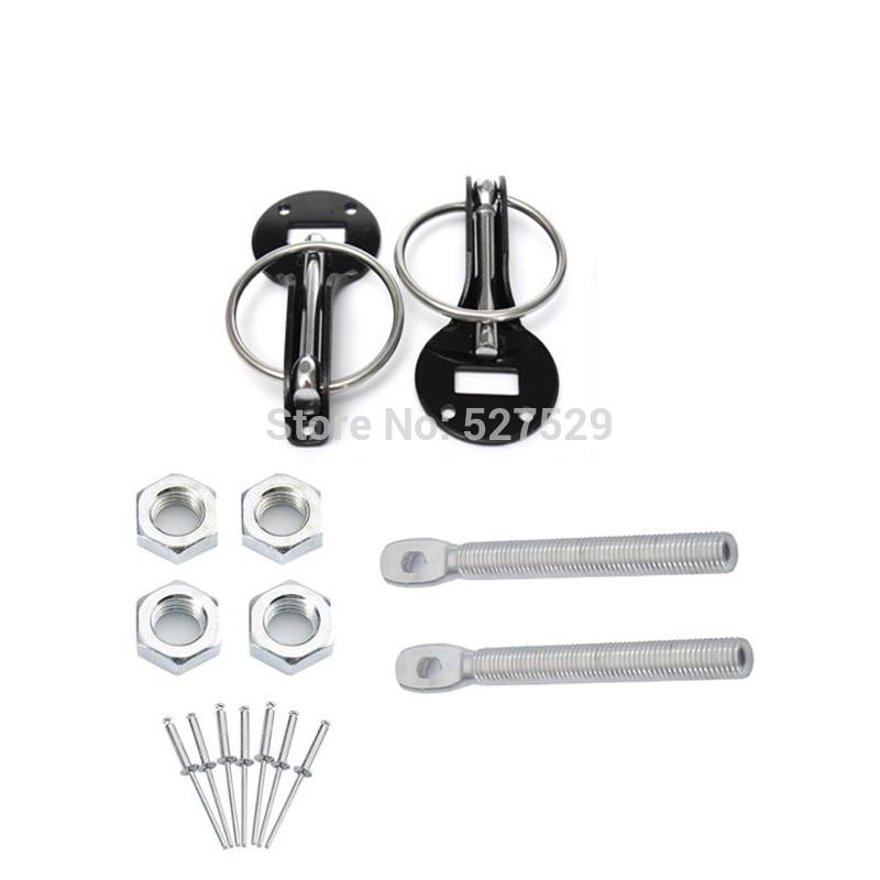 black Universal Racing Sport Bonnet Hood Pins Lock Latch Kit for Racing Sport Car Hood Pins