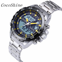 CocoShine A-733  North Double Movement Quartz Wrist Watch Stainless Steel Bracelet Men Watch wholesale Free shipping