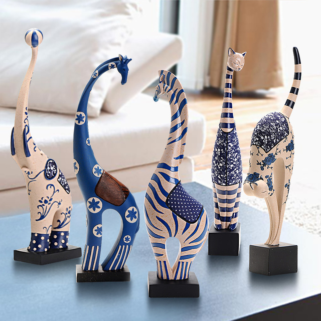 living room decorative items. Fashion resin craft home decoration zebra elephant deer cat 5 kinds brief  modern living room