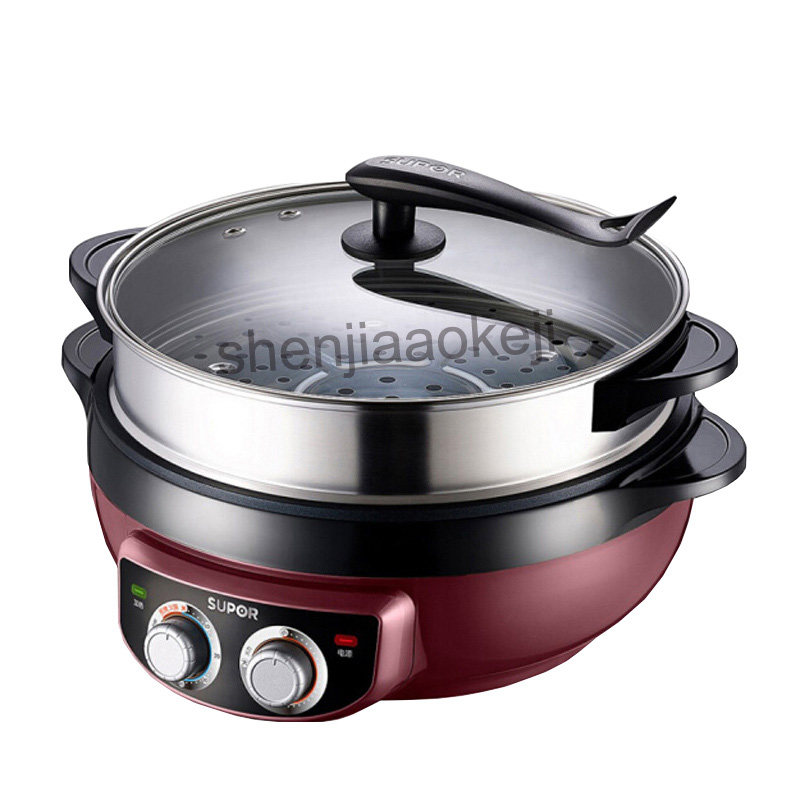 Multifunctional Electric Food Steamer Hot Pot Household Electric Cooker Wok 6L Korean Style Non stick Frying Machine 220V 1800W|Hot Plates| |  - title=