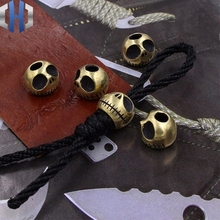 Halloween Brass Pumpkin Knife Beads Personality Skull EDC Keychain Pendant Hanging Rope Paracord 1PC