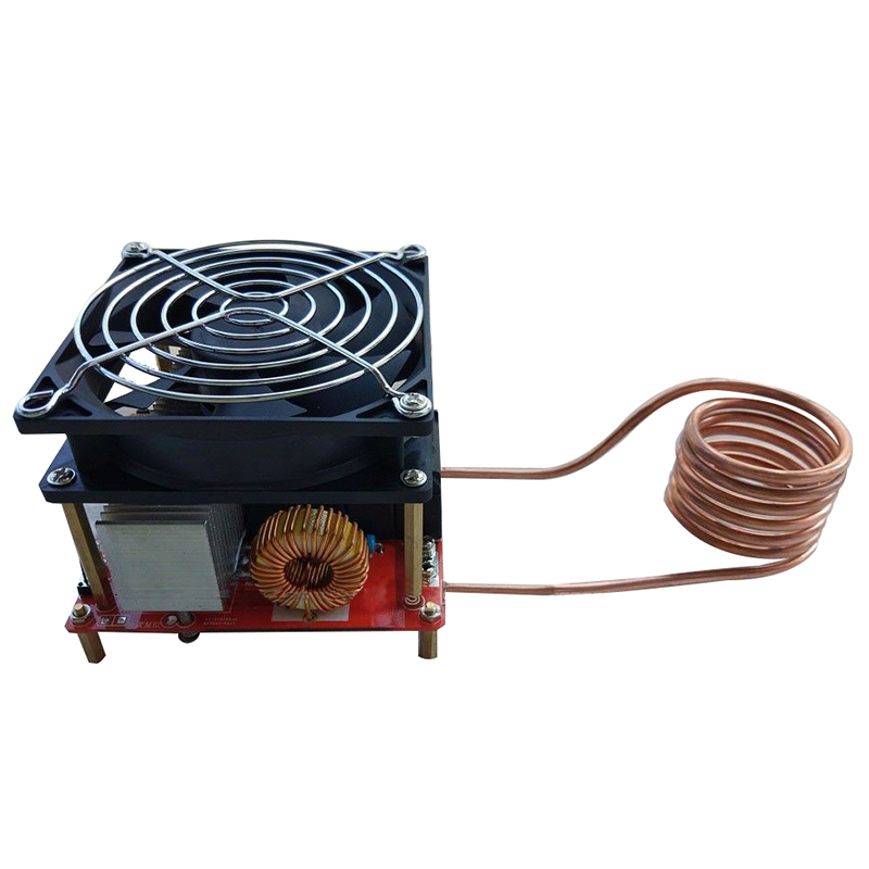 Top Sale 20A ZVS induction heating board Flyback driver heater DIY Cooker+ ignition coil 1800w zvs induction heating pcb board module flyback driver heater with cooling fan interface copper coil mayitr