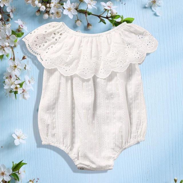 b8156d583ba 2018 New Cute Newborn Baby Girl Romper Clothes White Lace Playsuit Jumpsuit  Outfit Summer Bebes Sunsuit 0-24M