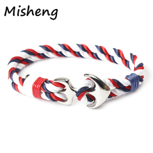 Misheng Brand Stainless Steel Anchor Bracelet 21cm Accessories Premium Nylon Rope Navy Style 2019 Fashion Men/Women Jewelry