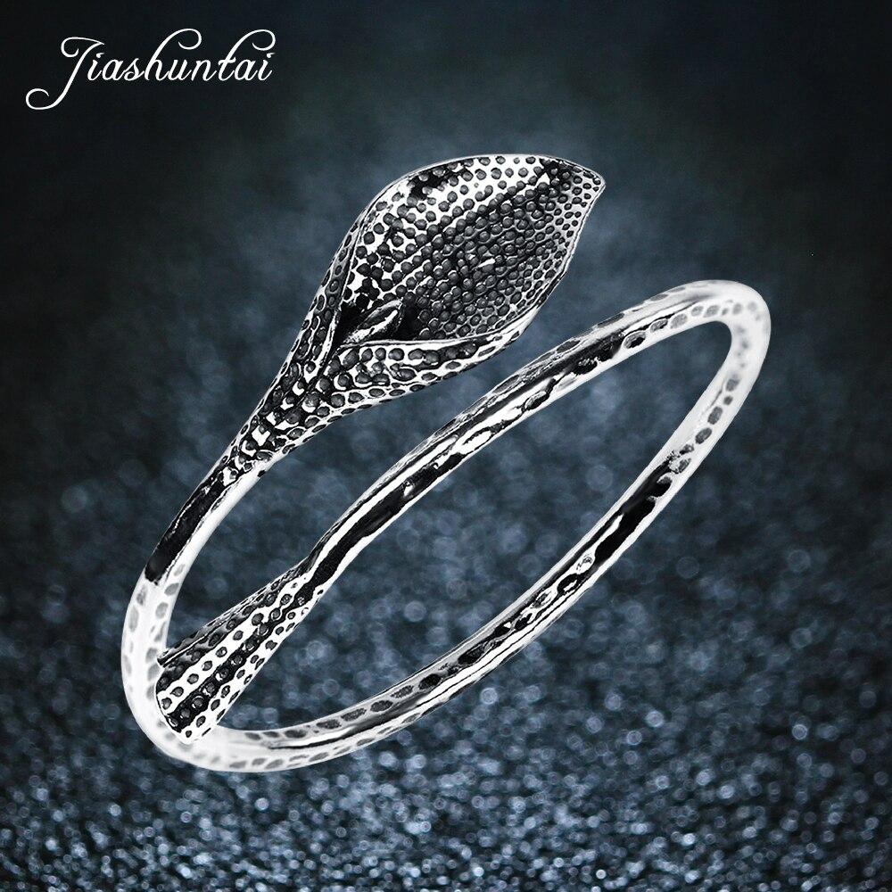 JIASHUNTAI Retro Silver Bangles For Women Lotus Leaf S990 Sterling Silver Jewelry Handmade Fashion Opening leaf opening bracelet