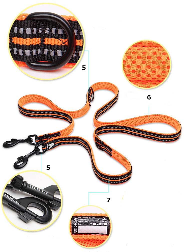 Truelove 7 In 1 Multi-Function Adjustable Dog Lead Hand Free Pet Training Leash Reflective Multi-Purpose Dog Leash Walk 2 Dogs (16)