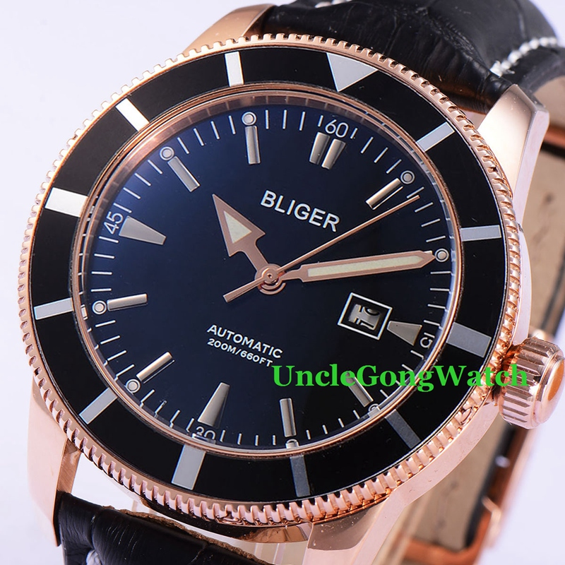 46mm Bliger Automatic Mens Watches Black Dial Rose Gold PVD Case Timepiece Black Strap Deployment Buckle Clock BA4601RKK