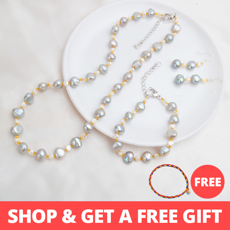 ASHIQI Natural Baroque pearl Jewelry Sets Real Freshwater pearl Necklace Bracelet 925 sterling silver earrings women New ArrivalASHIQI Natural Baroque pearl Jewelry Sets Real Freshwater pearl Necklace Bracelet 925 sterling silver earrings women New Arrival