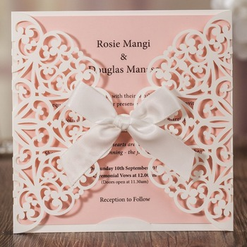 50pcs Wishmade Ivory Square Laser Cut Wedding Invitations Cards with Bow Lace Sleeve for Engagement Baby Shower Birthday CW6177