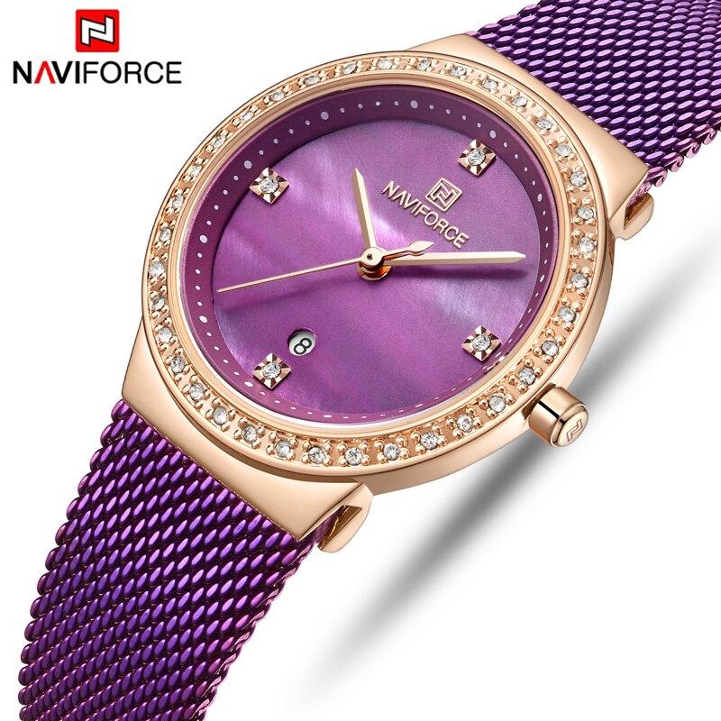 Femmes montres NAVIFORCE marque de luxe femme mode violet montre dames Simple en acier inoxydable étanche montres à Quartz