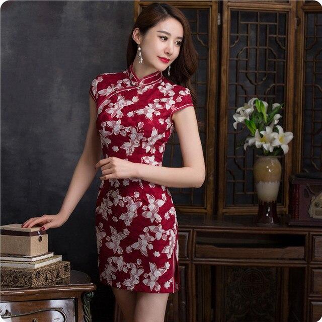 2016 Ladies Sexy Slim Mini Cheongsam Qipao Short Vintage Chi-Pao Silk Abendkleider Elegant Women Red Chinese Evening Vestidos