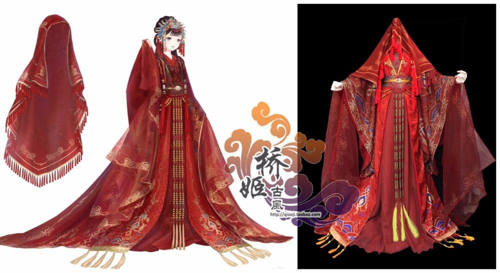[Personnaliser] 2018 jeu Miracle Nikki chinois ancienne robe de mariée rouge Costume Cosplay ensemble complet n'importe quelle taille pour Halloween DHL gratuit.