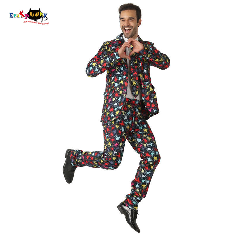 CRAZE Multicolor Hearts Suits Lovely Cosplay Men Halloween costumes Adult Christmas Wedding Suits Carnival party Male Outfit
