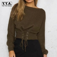 Autumn Sexy Long Sleeve Sweaters Female Lace Up Cold Shoulder Knitted Basic Sweater Women Autumn Tricot Pullover Jumpers Pink