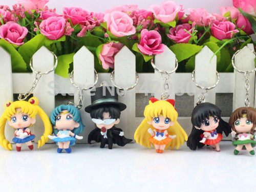 2015 <font><b>JP</b></font> <font><b>Anime</b></font> <font><b>Sailor</b></font> <font><b>Moon</b></font> 1.5 <font><b>Keychain</b></font> <font><b>keyring</b></font> <font><b>Action</b></font> figures toy 6 pcs set accessoriesFree Shipping