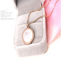 Titanium Steel Mother Of Pearl Shell Pendants Necklaces Jewelry Collier Femme 14K Gold Plated Heart Chain