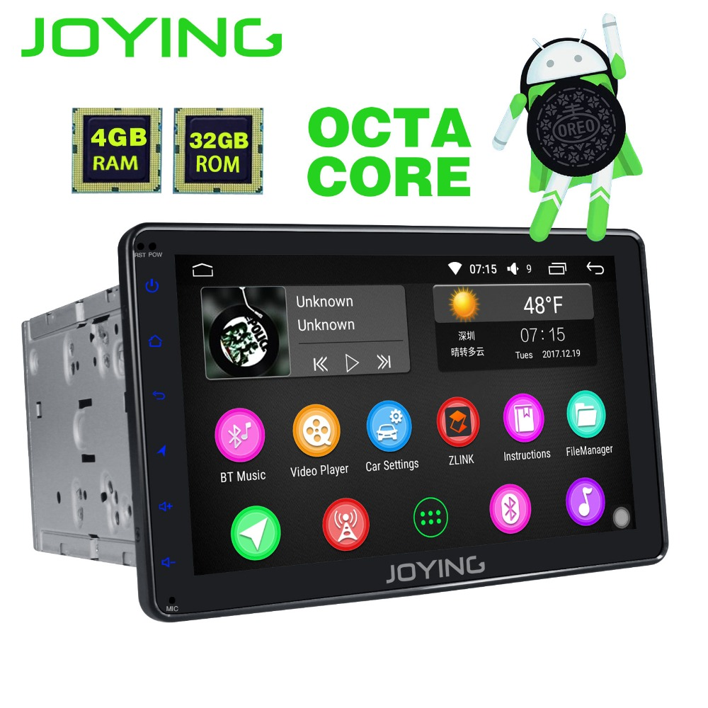 JOYING 2 Din 8 Core 4 gb RAM 8 pollice Android 8.0 GPS lettore registratore a cassette radio unità di testa audio supporto stereo apple carplay