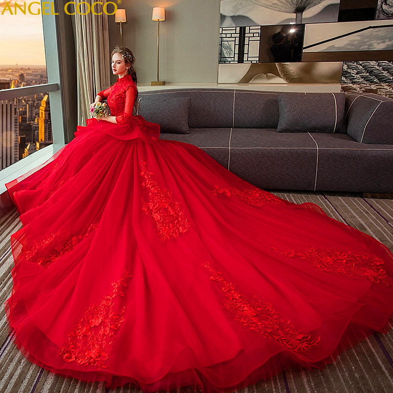 Stand Collar Retro Maternity Dresses Wedding Red Long Tail Pregnant Wedding Dress New 2018 Pregnancy Clothes Lace Bride Gown