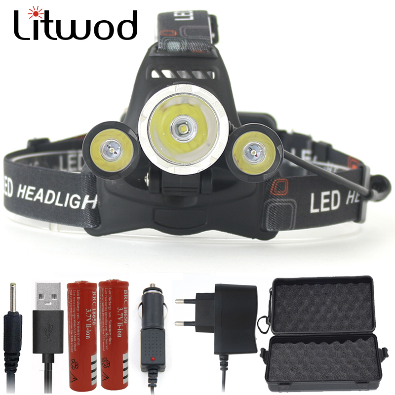 Litwod Z30 LED Headlamp Headlight 9000LM 3 pcs XML T6 9000 Lumen Head Lamp light head frontal Flashlight Torch for camping maimu 8000lm usb power led headlamp cree xml t6 3 modes rechargeable headlight head lamp torch for hunting 18650 head light d14