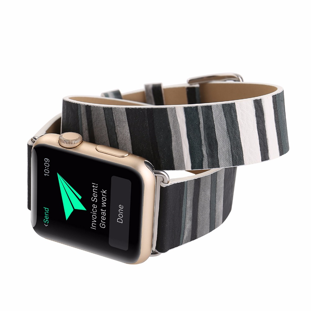 For Apple Watch Wrist Strap Double Tour Genuine Leather Watch Band For Apple Series 1 2 3 iWatch Bracelet 38mm 42mm Watchbands luxury ladies watch strap for apple watch series 1 2 3 wrist band hand made by crystal bracelet for apple watch series iwatch