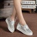 Pisos Mocasines Zapatos de las mujeres Mujeres de la Marca zapatos de Cuero Casual Zapatos de Plataforma Para Las Mujeres 2016 Señoras de La Manera Zapatos de Los Planos de Las Mujeres 2528