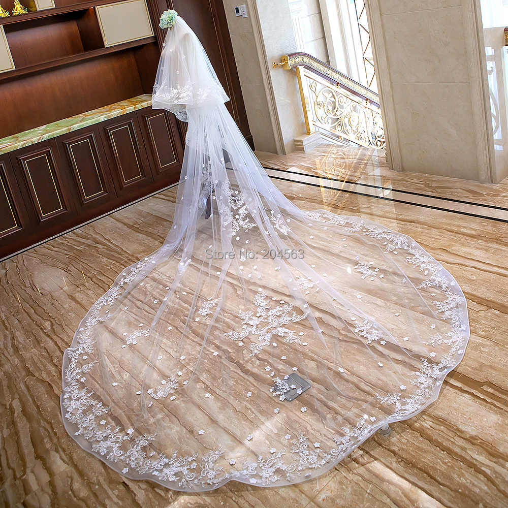 Stunning Two Layer Luxury Lace Wedding Veil with Star Flowers 4 Meters Long Bridal Veils with