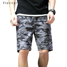 Fletiter Men's Shorts Summer Fashion Military Trunks French 99% Cotton Casual Hip Hop Male Beach Short Khaki camouflage A4(China)