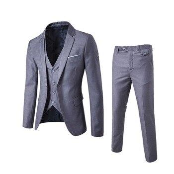 b487659daf2c2 2018 erkek Moda Ince Takım Elbise erkek Iş rahat giyim Sağdıç Üç parçalı Takım  Elbise Blazers Ceket Pantolon Pantolon Yelek setleri