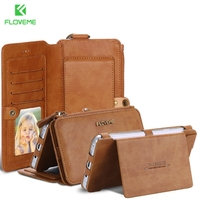 Floveme Original Brand Leather Case For Samsung Note 3 Note 4 Vintage Classic Folded Stand Wallet