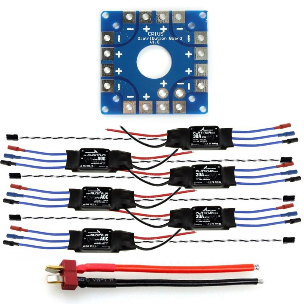 F04997-B JMT Assembled Kit: 30A ESC + KK ESC Connection Board Connectors Dean T Plug Wire for 6-Aix Drone Hexacopter 30a esc welding plug brushless electric speed control 4v 16v voltage