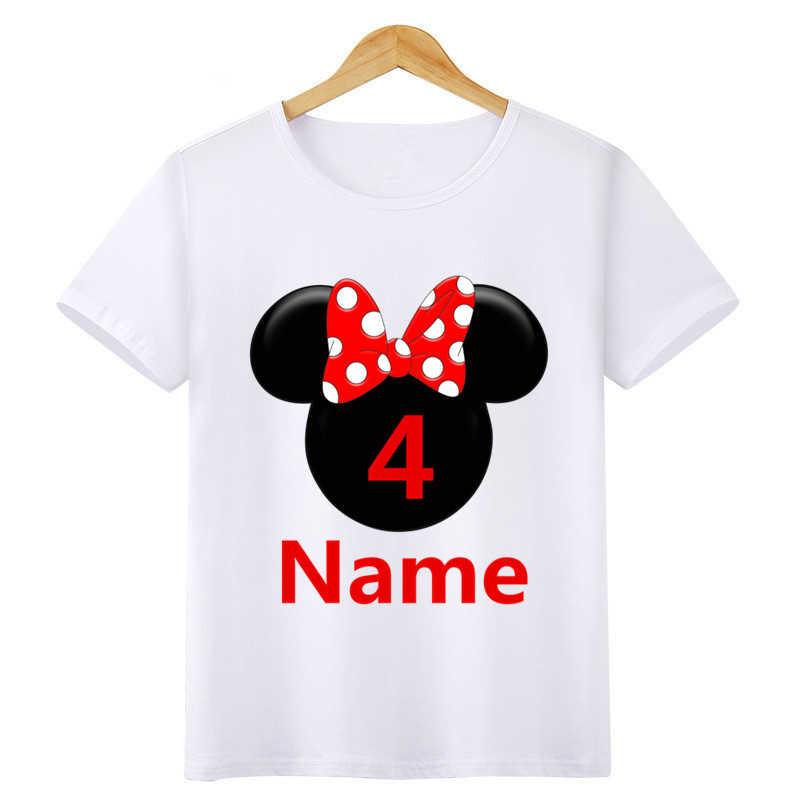 ชาย/หญิงตัวเลขวันเกิดโบว์พิมพ์การ์ตูน T เสื้อเด็กเสื้อสั้นเด็กออกแบบชื่อหมายเลขน่ารักเสื้อยืด
