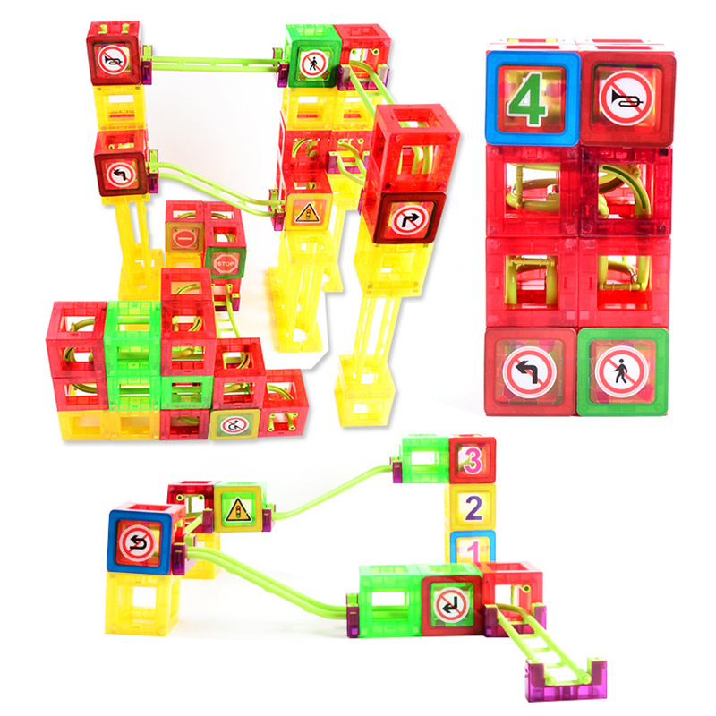 72pcs Magnetism Roller Coaster Building Blocks Toy Educational Matching Construct Magnetism Pathway Roll Ball Large Blocks solar powered roller coaster model kit educational toy