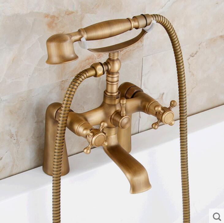На бортике ванной кран Душ античная смеситель для душа телефон в ванной комнате ванна кран с ручным душем ванны и душа коснитесь
