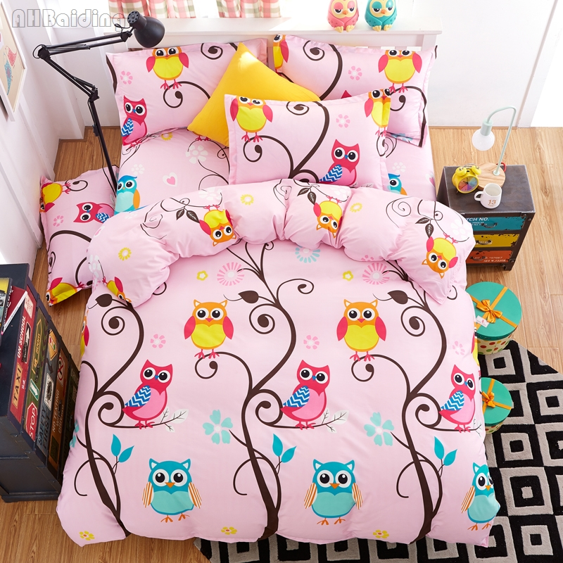 New Pink Flowers Owl Bedding Set Cotton Bed Linen for Adult Children Bedclothes Twin Full Queen King 3/4pcs Comforter Cover Set