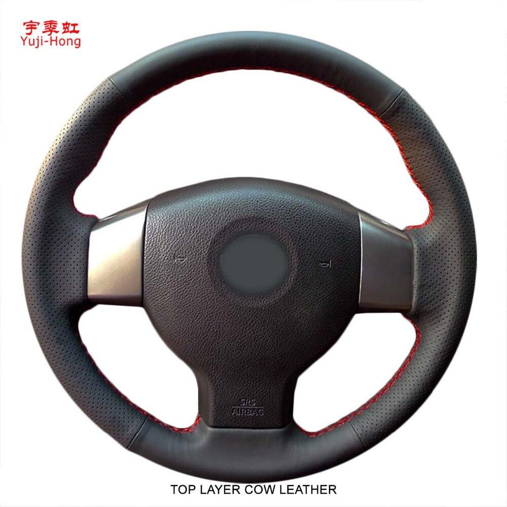 Housse de volant de voiture en cuir de vache véritable yuji-hong pour NISSAN TIIDA 2007-2009 NOTE couvre-roue cousu main