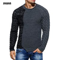 Men's sweater winter stitching round neck sweater hip hop large size pullover casual sweater Masculino SHUJIN TS