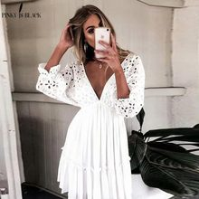 PinkyIsBlack Elegant V neck Embroidery Women Dress Ruffle Pleated Lace Up Summer Dresses Casual Sexy Hollow Out Festa