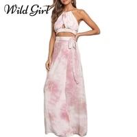 Glamaker Flower Print Sexy Women Dress Two Piece Suit Hollow Out Summer Dress Halter High Split