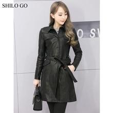 SHILO GO Leather Coat Womens Autumn Fashion sheepskin genuine leather Coat office OL lapel long sleeve pocket black long coat