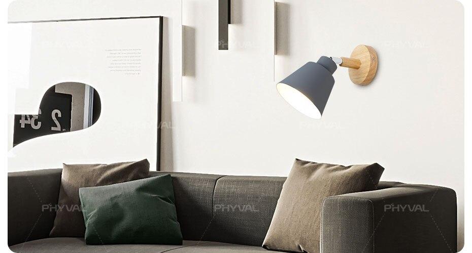 Luzes de parede de madeira cabeceira quarto