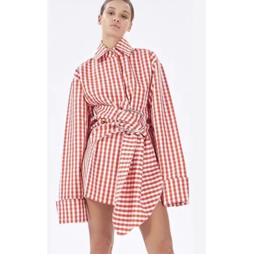 HIGH QUALITY Newest Fashion 2017 Designer Dress Women's Long Sleeve Plaid Printed Asymmetrical Shirt Dress