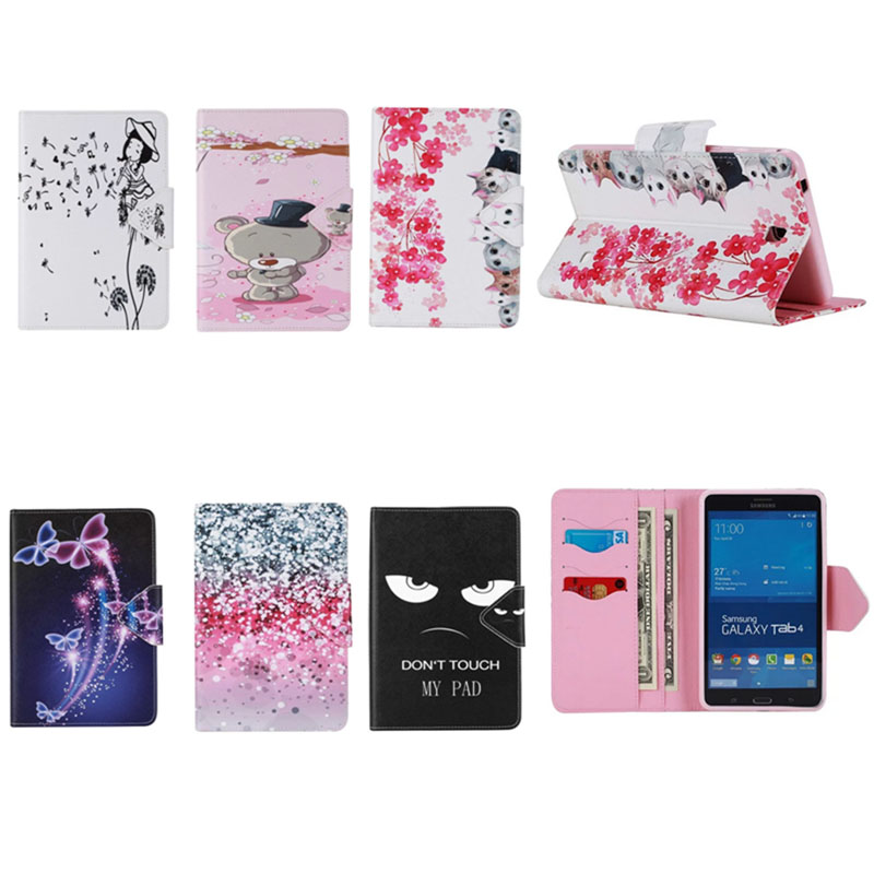 Luxury 7 diamond tablet pu Leather Stand Tablet Cover Case For Samsung Galaxy Tab 4 Tab4 7.0 T230 T231 T235 SM-T230 SM-T231