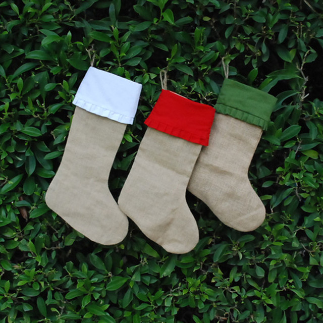 wholesale ruffled burlap christmas stocking solid red and green linen christmas stockings with ruffle trims - Red And Green Christmas Stockings