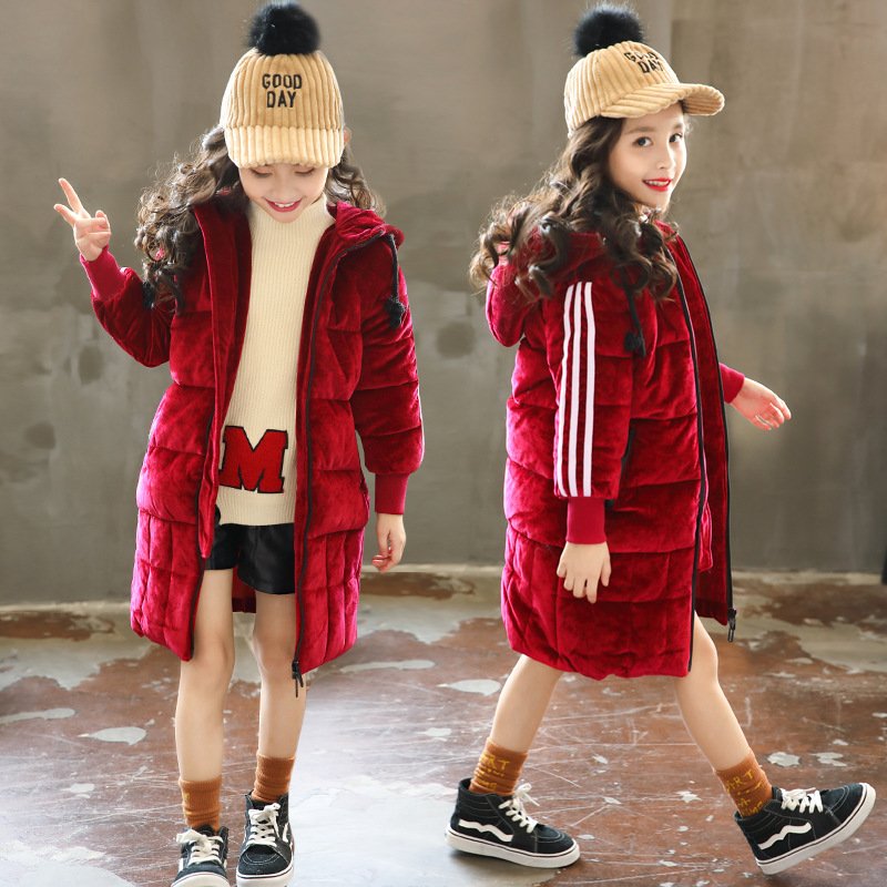Girls cotton coat 2018 new style winter fashion hooded padded cotton zipper cardigan children's jacket long cotton jacket tide winter chinese style retro frog contrast color frog and print jacket coat cotton padded jacket windbreaker