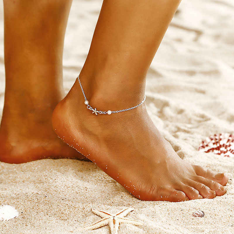 new fashion exquisite alloy anklet beach accessoeies elegant female jewelry imitation pearl sea star bracelet ns70