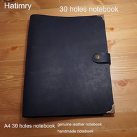 Hatimry genuine leather travelers notebook A4 big size 30 holes notebook name bussiness sketch books school supplies