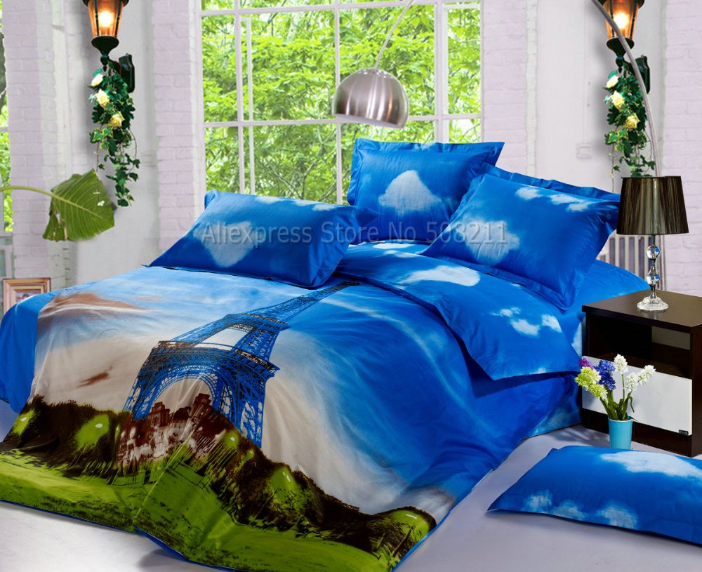 4pcs Full/Queen Bed In A Bag Sets Eiffel Tower Pattern Sky