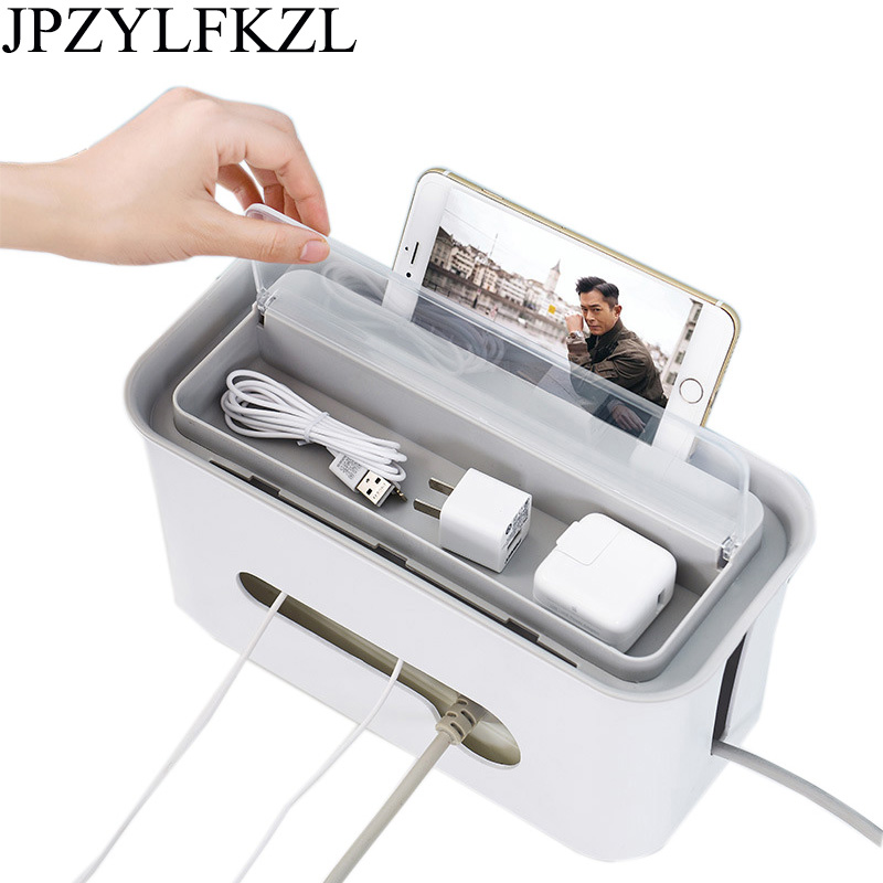 Rectangular Cable Storage Box Wire Management Socket Safety ABS Plastic Cable Storage Box Practical Power Strip Home Decor